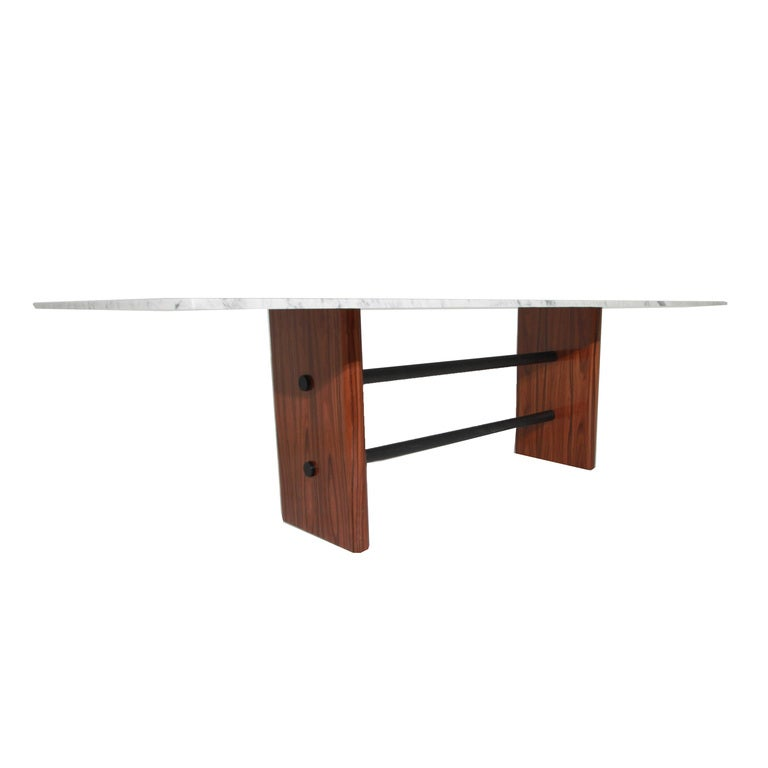 Rosewood And Solid Metal Double Stretcher Table With Marble Top The