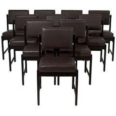 Set of 10 Basic Pivot Back Dining Chairs by Thomas Hayes Studio