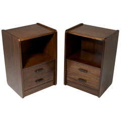 Pair of Brazilian Night Stands/End Tables with Rosewood and Leather Pulls