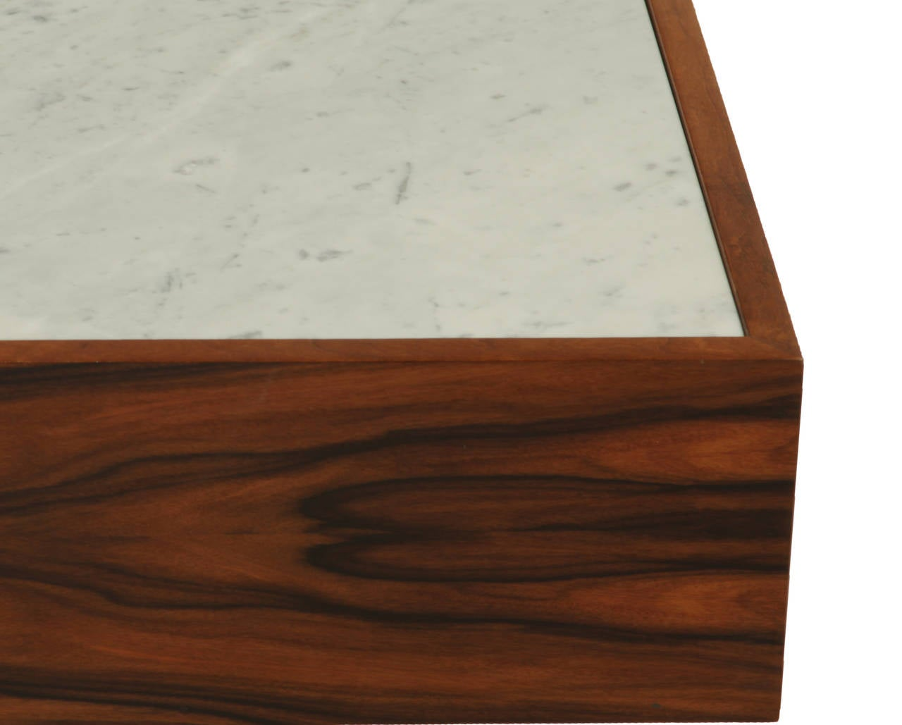 Quadrar Coffee Table In Rosewood And Carrara Marble By Thomas Hayes