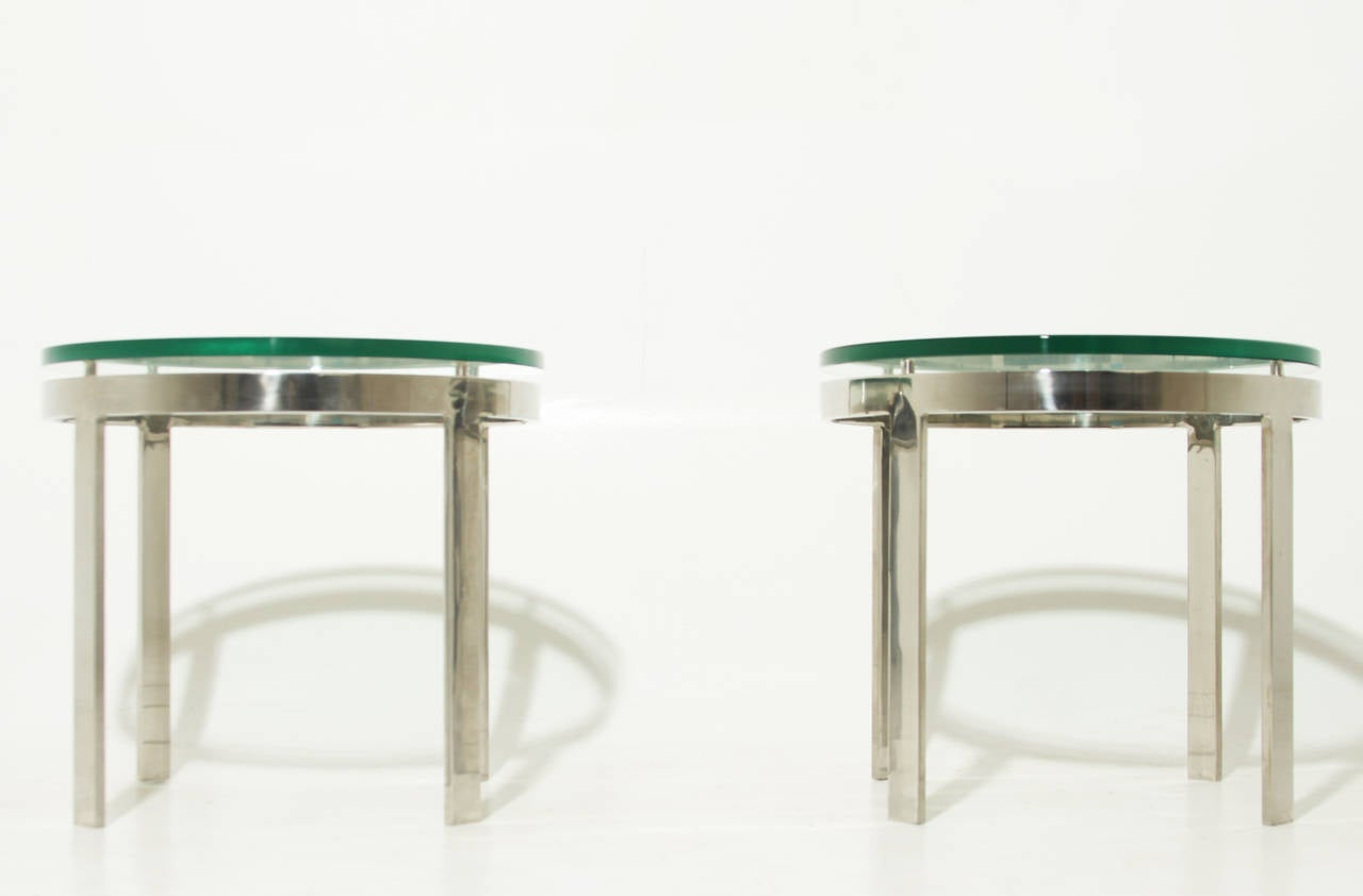 Pair Of Chrome And Glass Side Tables For Sale At 1stdibs