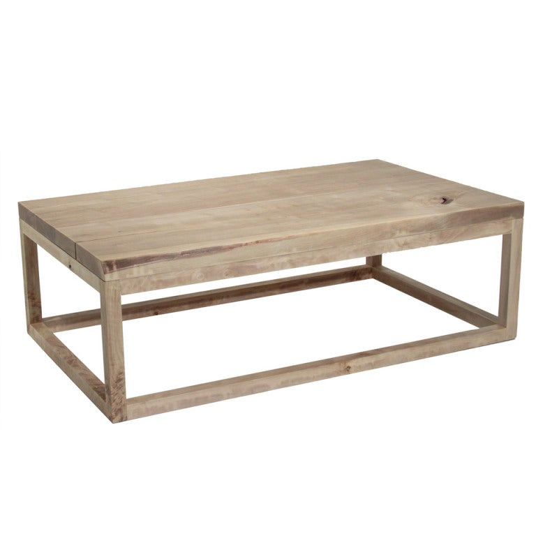The Basic Coffee Table In Bleached Walnut With Live Edges By Thomas Hayes Studio For