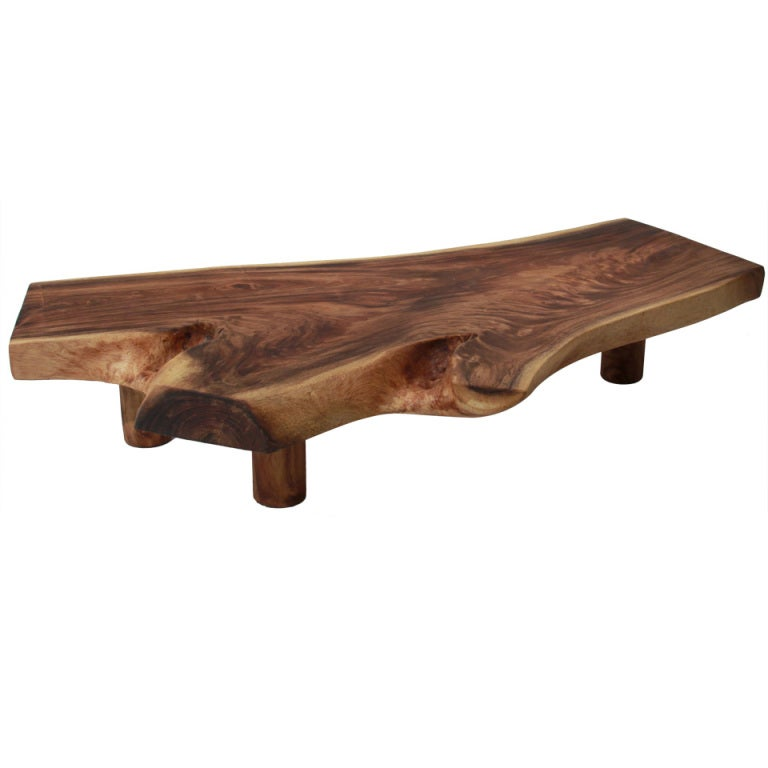 Live Edge Solid Slab Of Tamboril Coffee Table by Tunico T.