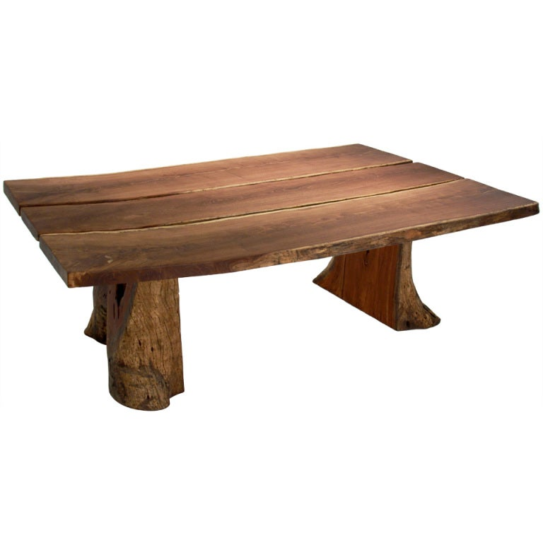 Live Edge Solid Slab Of Tamboril Coffee Table By Tunico T: Rare Round Dining Table By Ico Parisi For Ariberto Colombo
