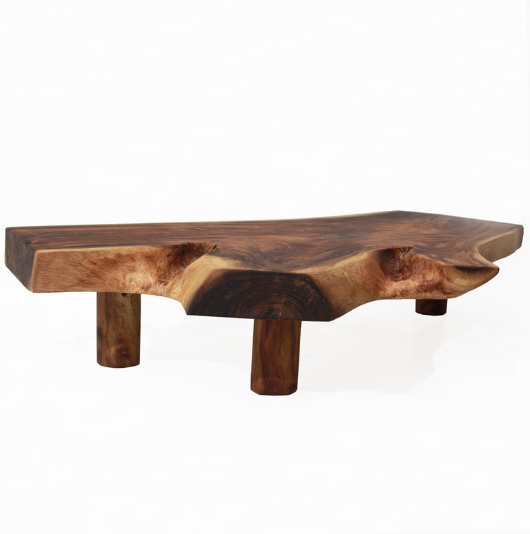 Live Edge Solid Slab Of Tamboril Coffee Table by Tunico T. 5