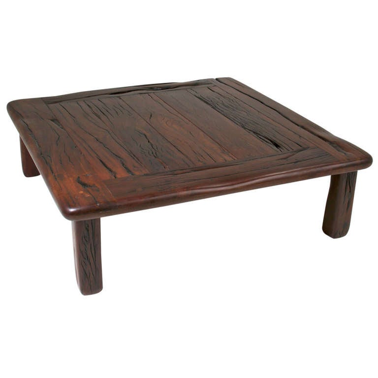 Massive Vintage Square Coffee Table Made From Reclaimed Ipe Railroad Planks At 1stdibs