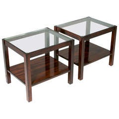 Pair of Brazilian Rosewood and Glass Side Tables