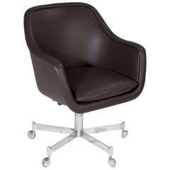 Leather desk chair by Ward Bennett for Bricket Associates