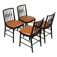 Set of Four Black Spindle Back Dining Chairs by Baker