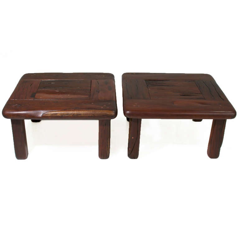 Pair Of Vintage Side Tables Or Coffee Table Made From Reclaimed Ipe Railroad Planks For Sale At
