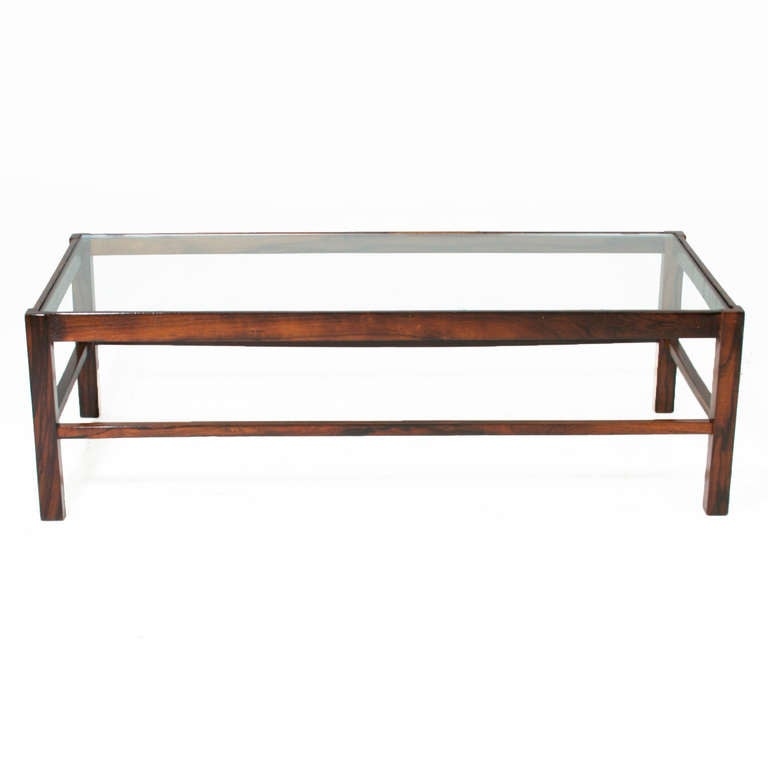 Solid Rosewood And Glass Brazilian Coffee Table At 1stdibs