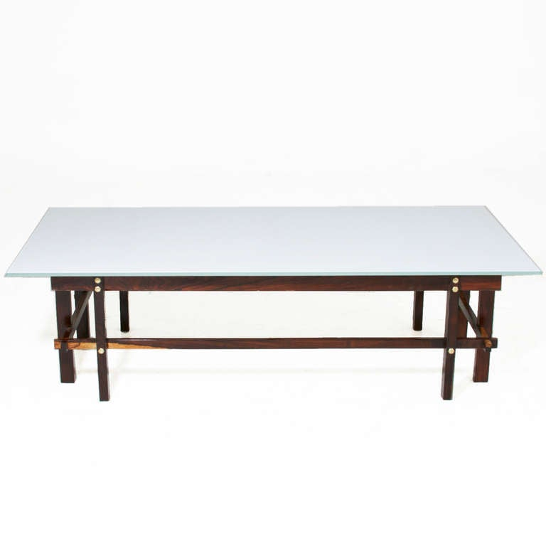 Brazilian architectural rosewood coffee table with white for Architectural coffee table