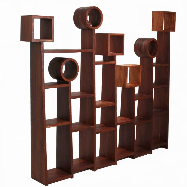 Large solid Sucu Pira Preta geometric bookshelf by Tunico T. 2