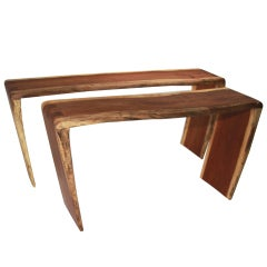 Set of sculptural solid Jatoba console tables by Tunico T.