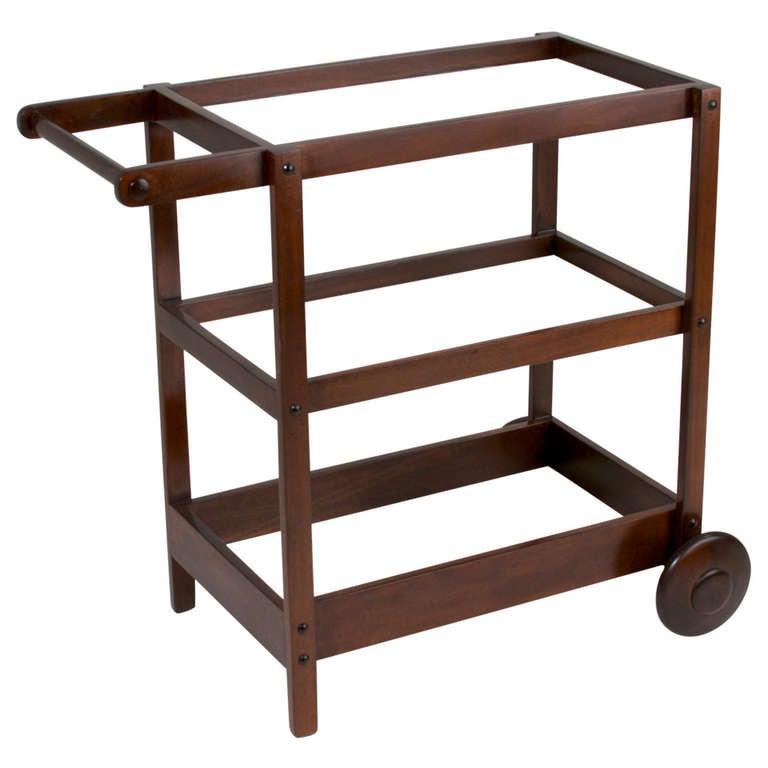 Brazilian peroba wood bar cart or serving by sergio