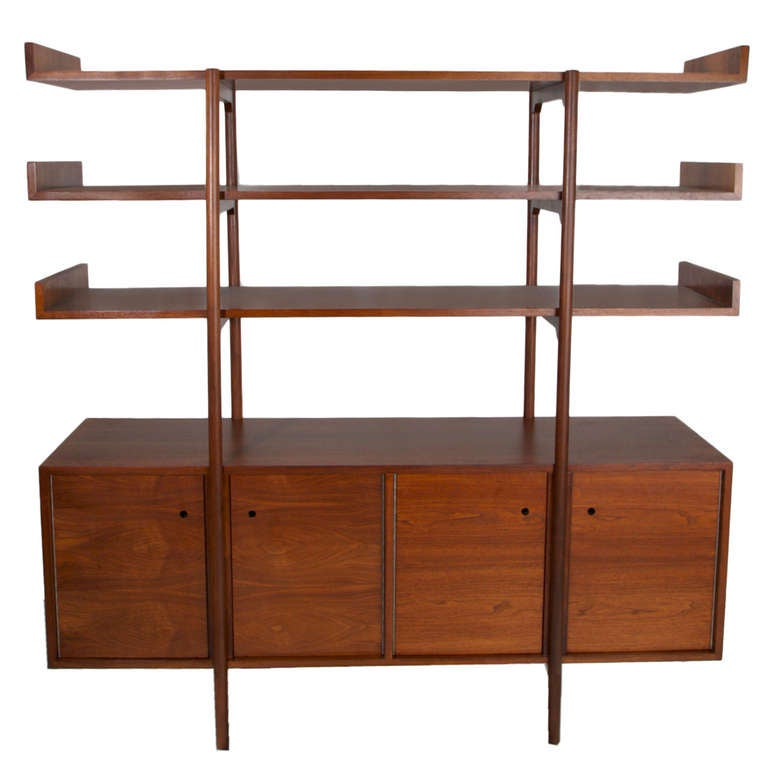Early Walnut Room Divider By Milo Baughman For Glenn Of