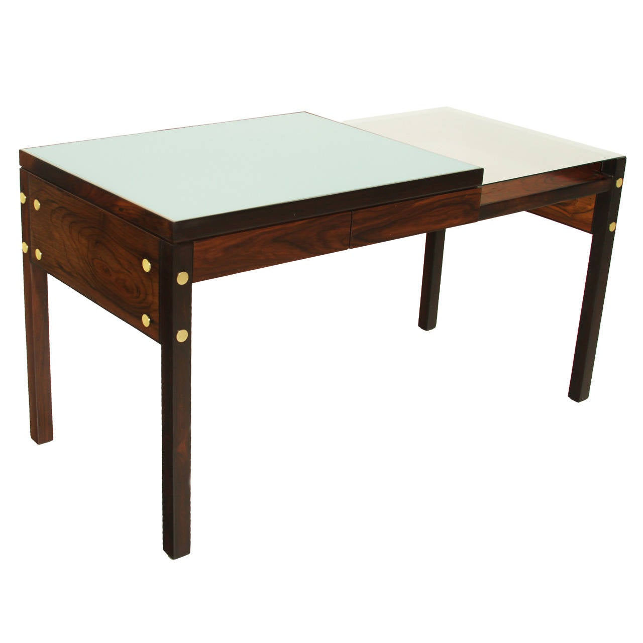 Sergio Rodrigues Brazilian Hardwood Desk with Reverse Painted Glass & Brass