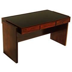 Rosewood and Black Glass Desk by Joaquim Tenreiro