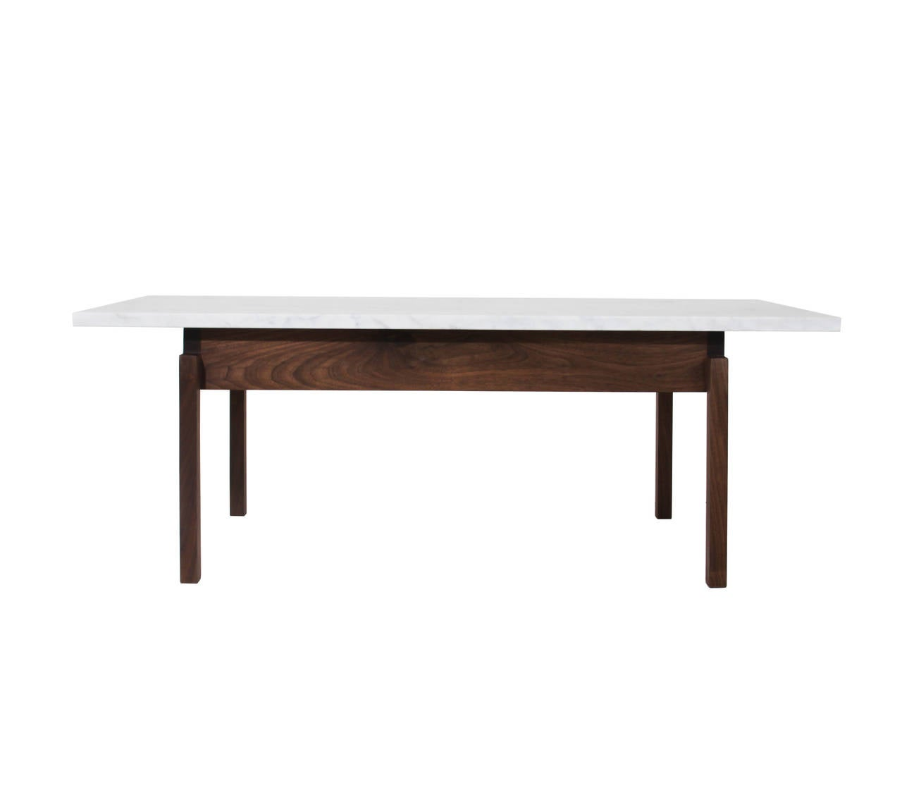 Walnut coffee table with carrara marble top by thomas hayes studio at 1stdibs Coffee tables with marble tops