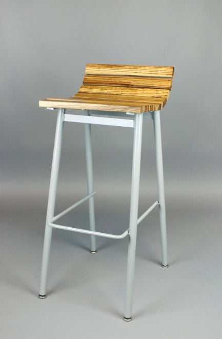 Set of 3 zebrawood and gray powder coated bar stools at  : 888512990197853 from www.1stdibs.com size 433 x 661 jpeg 20kB