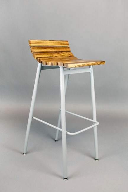 Set of 3 zebrawood and gray powder coated bar stools at  : 888512990197854 from www.1stdibs.com size 433 x 648 jpeg 18kB
