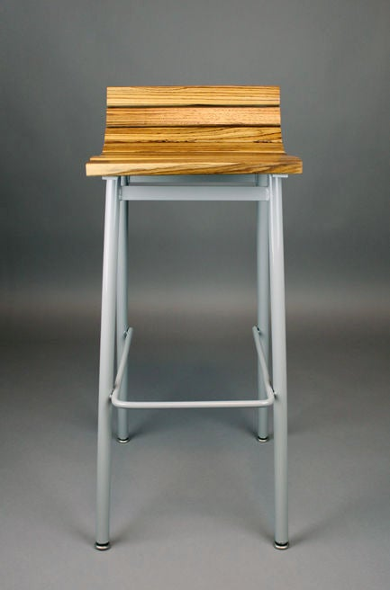 Set of 3 zebrawood and gray powder coated bar stools at  : 888512990197855 from www.1stdibs.com size 433 x 656 jpeg 21kB