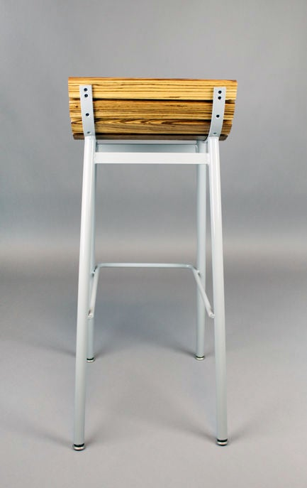 Set of 3 zebrawood and gray powder coated bar stools at  : 888512990197856 from www.1stdibs.com size 433 x 687 jpeg 20kB