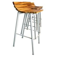 Set of 3 zebrawood and gray powder coated bar stools