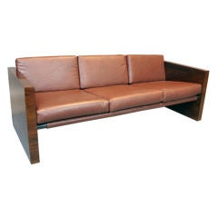 Vintage Milo Baughman rosewood and leather sofa