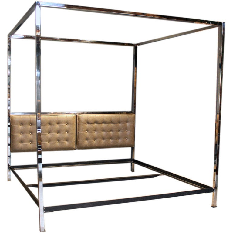 Tufted Leather And Chrome Bed Frame By Milo Baughman At