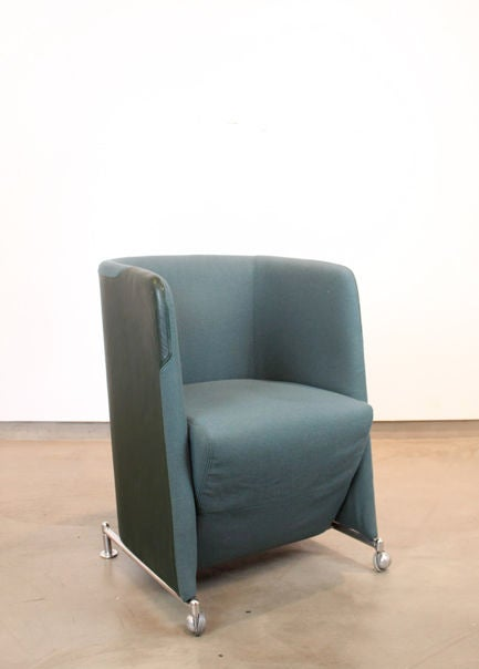 Green leather and wool chairs Lindau and Lindekrantz, Lammhults at 1stdibs
