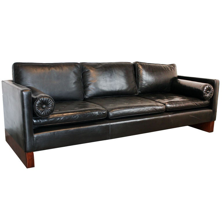 Mies Van Der Rohe Sofa For Knoll In Black Leather At 1stdibs