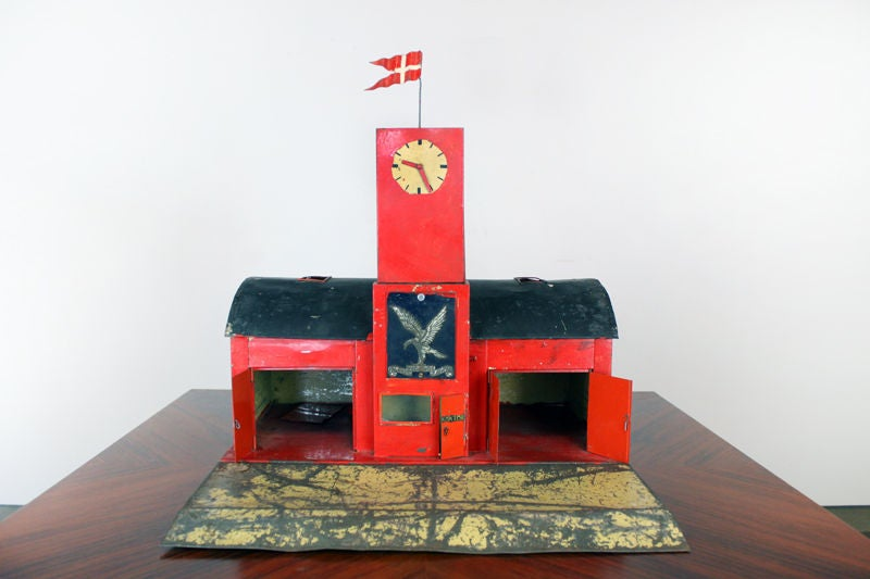 Large 1930's metal firehouse with fire engines and accessories 2