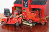 Large 1930's metal firehouse with fire engines and accessories image 7
