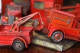 Large 1930's metal firehouse with fire engines and accessories image 9