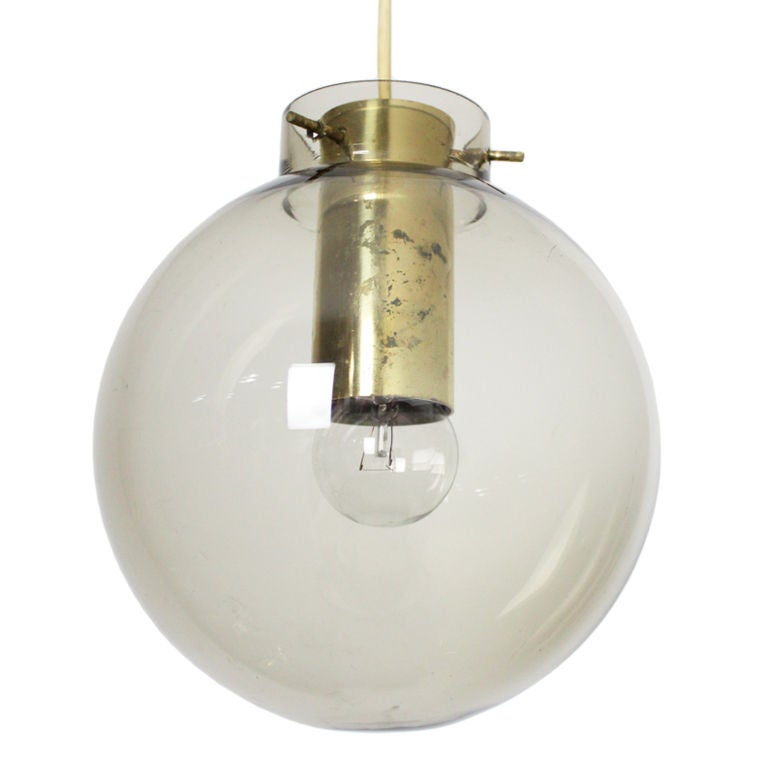 tinted glass globe and brass pendant light by fog and morup at 1stdibs. Black Bedroom Furniture Sets. Home Design Ideas