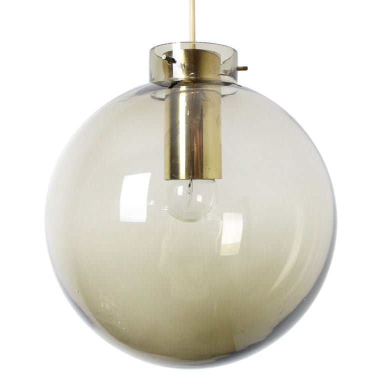 large brass and tinted glass globe pendant by fog and morup at 1stdibs. Black Bedroom Furniture Sets. Home Design Ideas