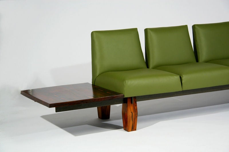 Rosewood And Green Leather Sofa With Floating Ends By Lu0027Atelier 2