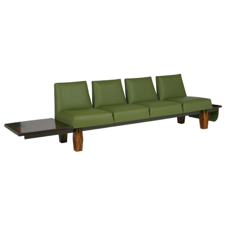 Rosewood And Green Leather Sofa With Floating Ends By L'Atelier At