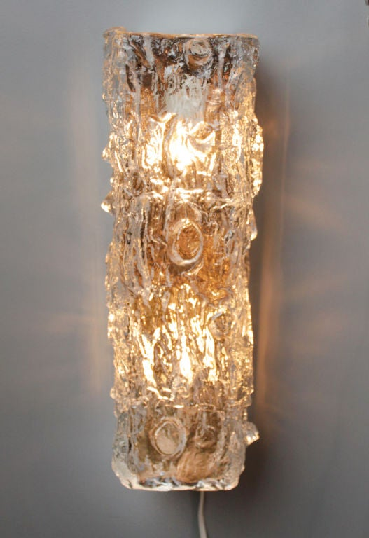 Small Vertical Hanging Rectangular Glass Wall Sconce At