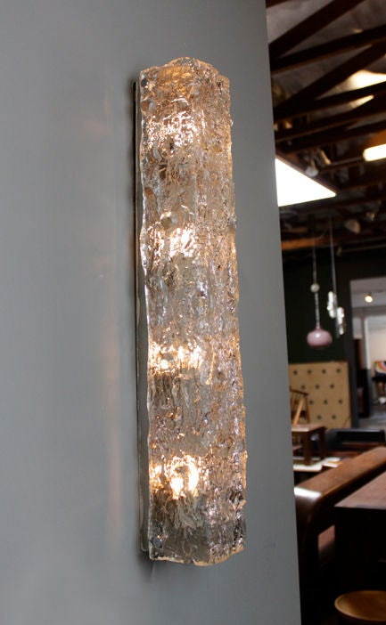 Large Vertical Rectangular Glass Sconce At 1stdibs