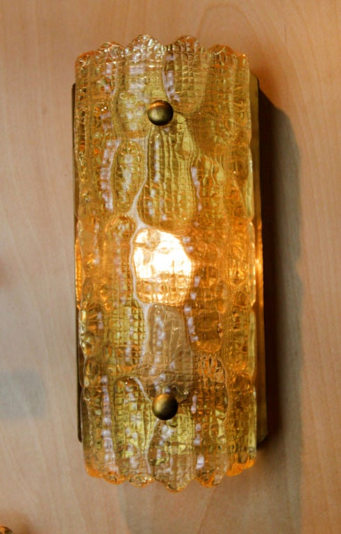 Yellow Wall Sconces : Single Carl Fagurland for Orrefors yellow glass and bronze sconce at 1stdibs