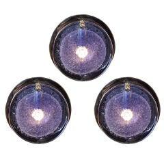 Vistosi Murano Sconces with Light Blue Glass Disc Shades