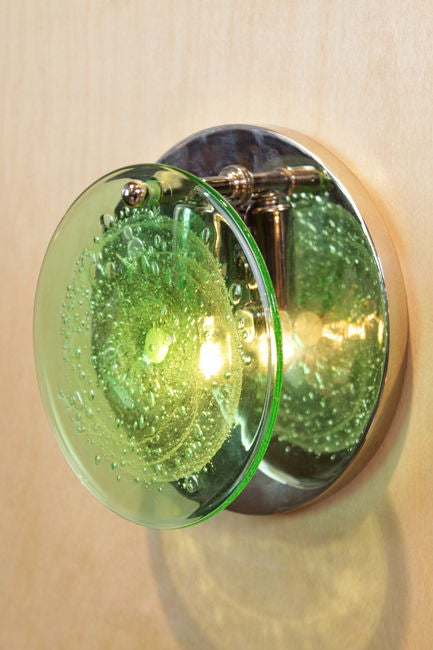 Single Vistosi Murano Green Glass and Nickel Wall Sconces For Sale at 1stdibs