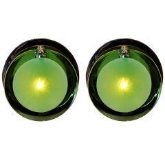 Pair of Vistosi Murano Green Glass and Nickel Wall Sconces