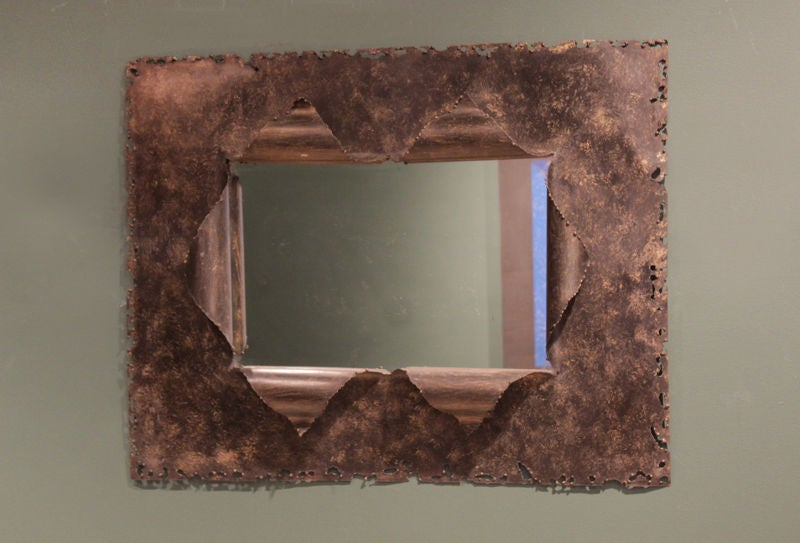 Bronze Wall Mirror: Vintage Bronze Framed Mirror With Torch Cut Edges At 1stdibs