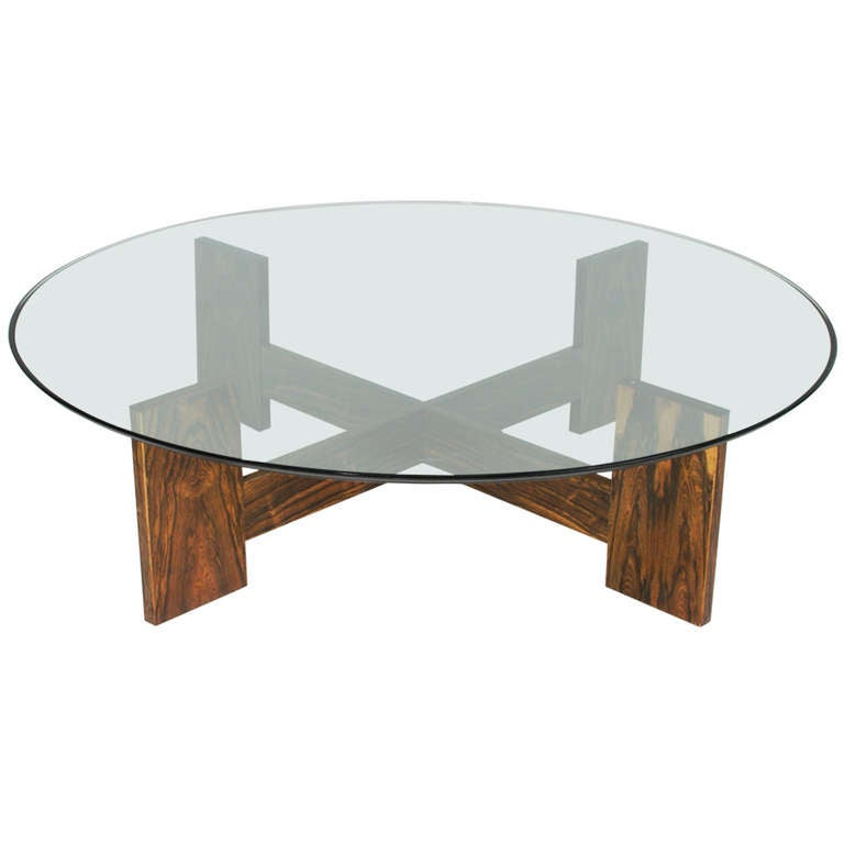 Brazilian Rosewood Coffee Table With Round Glass Top 1