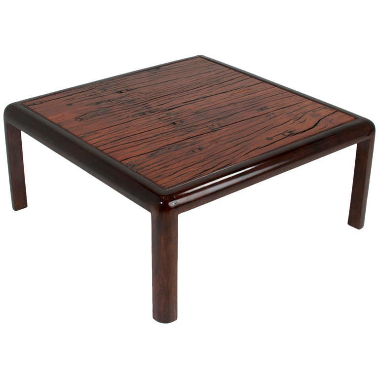 Square Brazilian Ipe Coffee Table From Salvaged Railroad