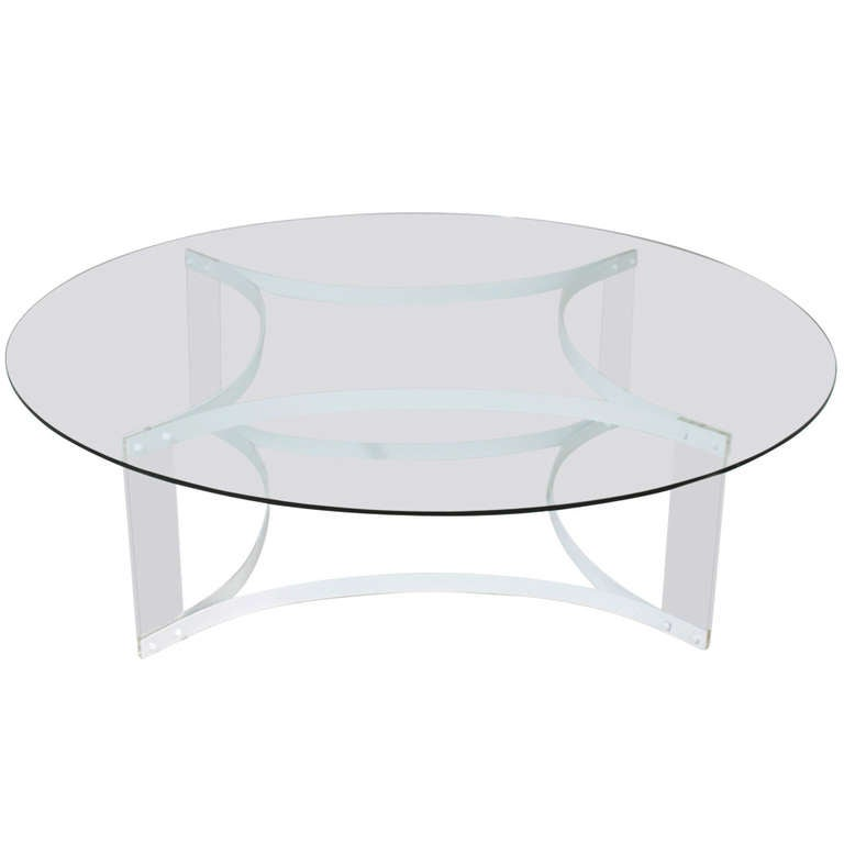 Floating Round Glass And Lucite Coffee Table From Brazil At 1stdibs