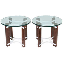 1970s Pair Of Brazilian Sucipura Wood And Glass Side Tables